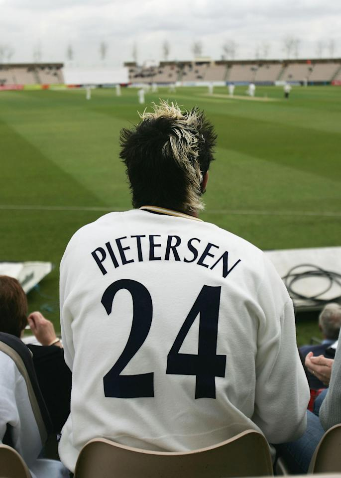 SOUTHAMPTON, ENGLAND - APRIL 13:  Kevin Pietersen of Hampshire sits with some friends in the crowd and watches the match during the Frizzell County Championship Division 1 match between Hampshire and Gloucestershire at The Rosebowl on April 13 2005 in Southampton, England.  (Photo by Tom Shaw/Getty Images)