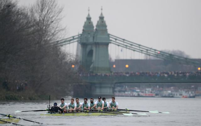Rowing - 2018 Oxford University vs Cambridge University Boat Race - London, Britain - March 24, 2018 Cambridge during the men's boat race REUTERS/Peter Cziborra