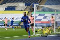 Leicester striker Kelechi Iheanacho hit a hat-trick