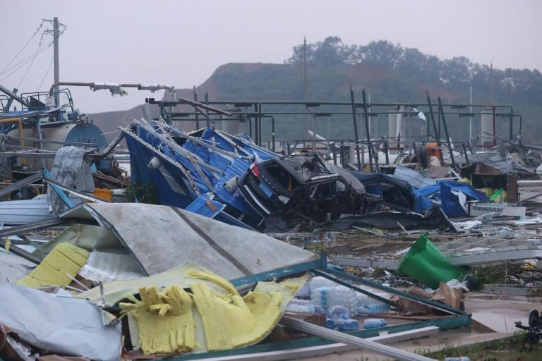 Vehicles were crushed by falling objects, trees uprooted, buildings partially destroyed and electricity pylons felled