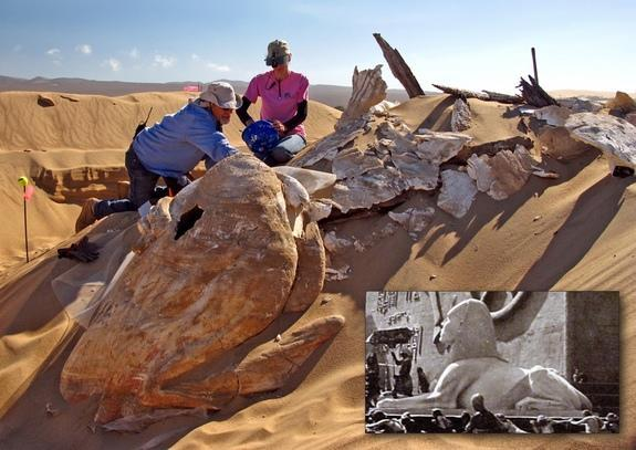 """Archaeologists unearth one of the giant sphinxes from the film, """"The Ten Commandments."""""""