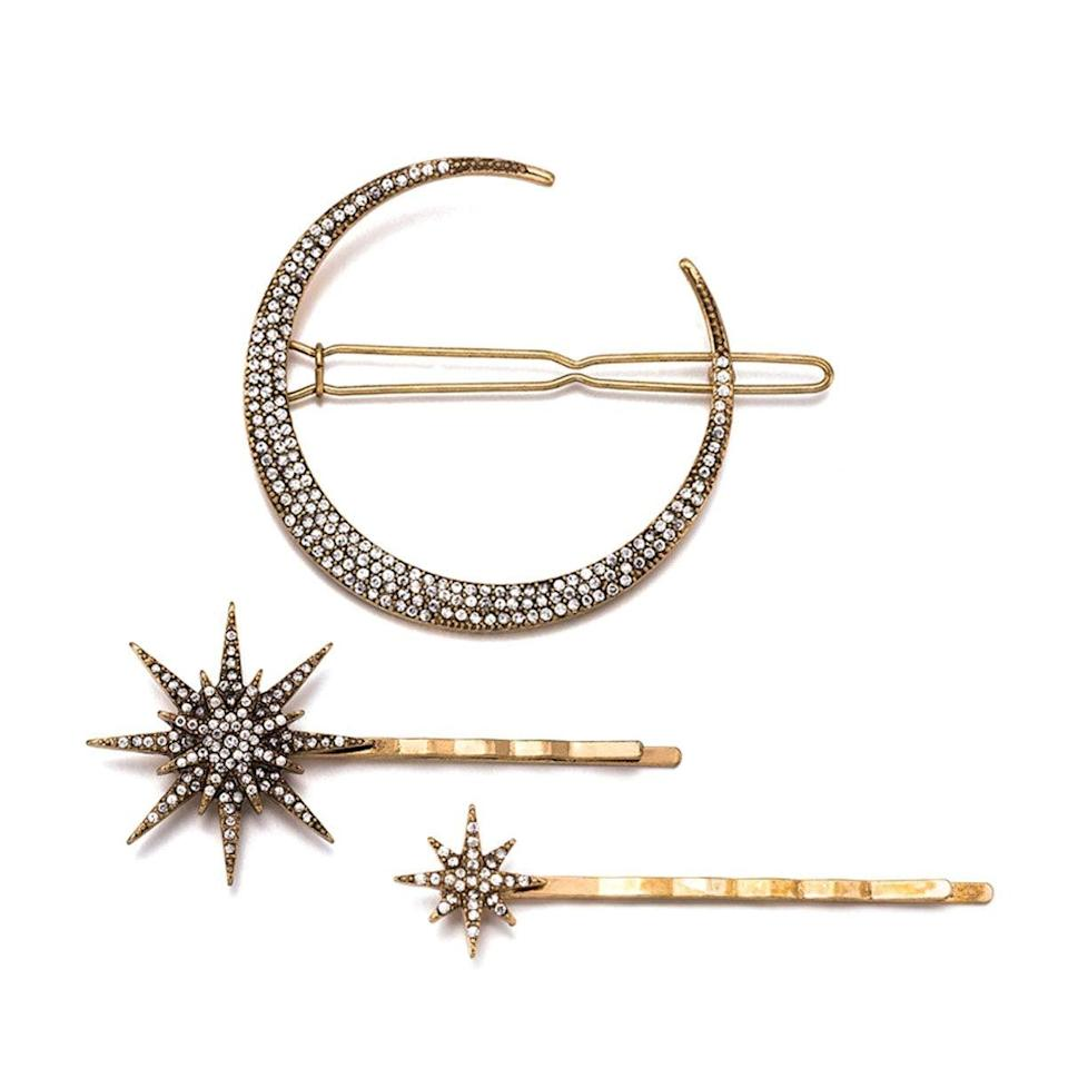 """<p>Pin your hair back with this <a href=""""https://www.popsugar.com/buy/Numblartd-Vintage-Rhinestone-Moon-Snowflake-Star-Hair-Clip-Set-523526?p_name=Numblartd%20Vintage%20Rhinestone%20Moon%2C%20Snowflake%2C%20Star%20Hair%20Clip%20Set&retailer=amazon.com&pid=523526&price=9&evar1=fab%3Aus&evar9=46971466&evar98=https%3A%2F%2Fwww.popsugar.com%2Ffashion%2Fphoto-gallery%2F46971466%2Fimage%2F46971786%2FNumblartd-Vintage-Rhinestone-Moon-Snowflake-Star-Hair-Clip-Set&list1=shopping%2Camazon%2Choliday%2Ceditors%20pick%2Cwinter%20fashion%2Choliday%20fashion%2Cfashion%20shopping&prop13=mobile&pdata=1"""" rel=""""nofollow noopener"""" class=""""link rapid-noclick-resp"""" target=""""_blank"""" data-ylk=""""slk:Numblartd Vintage Rhinestone Moon, Snowflake, Star Hair Clip Set"""">Numblartd Vintage Rhinestone Moon, Snowflake, Star Hair Clip Set</a> ($9). I like wearing mine with a high ponytail.</p>"""
