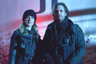 <p><em>12 Monkeys</em> is pretty morally gray, through and through — which gives us great latitude to explore things like blind faith in any kind of doctrine. We delve into how one can be driven to do terrible things: Fear. Love. Faith. (Credit: Ben Mark Holzberg/Syfy) </p>