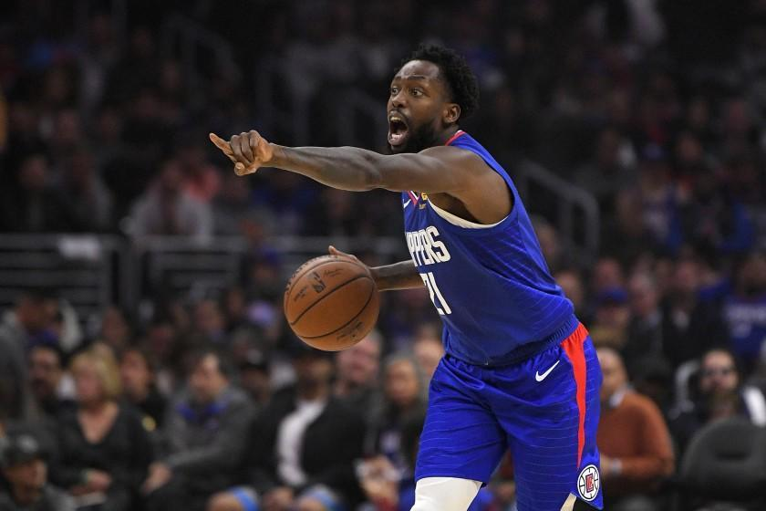 Los Angeles Clippers guard Patrick Beverley gestures during the first half of an NBA basketball game.