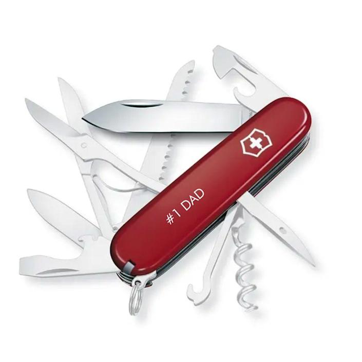 """<p><strong>Victorinox</strong></p><p>swissarmy.com</p><p><strong>$37.99</strong></p><p><a href=""""https://go.redirectingat.com?id=74968X1596630&url=https%3A%2F%2Fwww.swissarmy.com%2Fus%2Fen%2FProducts%2FSwiss-Army-Knives%2FMedium-Pocket-Knives%2FHuntsman%2Fp%2F1.3713&sref=https%3A%2F%2Fwww.menshealth.com%2Ftechnology-gear%2Fg19521968%2Fcool-gifts-for-dad%2F"""" rel=""""nofollow noopener"""" target=""""_blank"""" data-ylk=""""slk:BUY IT HERE"""" class=""""link rapid-noclick-resp"""">BUY IT HERE</a></p><p>Victorinox's Huntsman Swiss army knife is a classic <a href=""""https://www.menshealth.com/technology-gear/g19519763/best-gifts-men-adventure-outdoors/"""" rel=""""nofollow noopener"""" target=""""_blank"""" data-ylk=""""slk:Father's Day gift idea for any outdoorsman"""" class=""""link rapid-noclick-resp"""">Father's Day gift idea for any outdoorsman</a>. Now you can customize it with a personal message that will make him treasure this useful tool forever. </p>"""