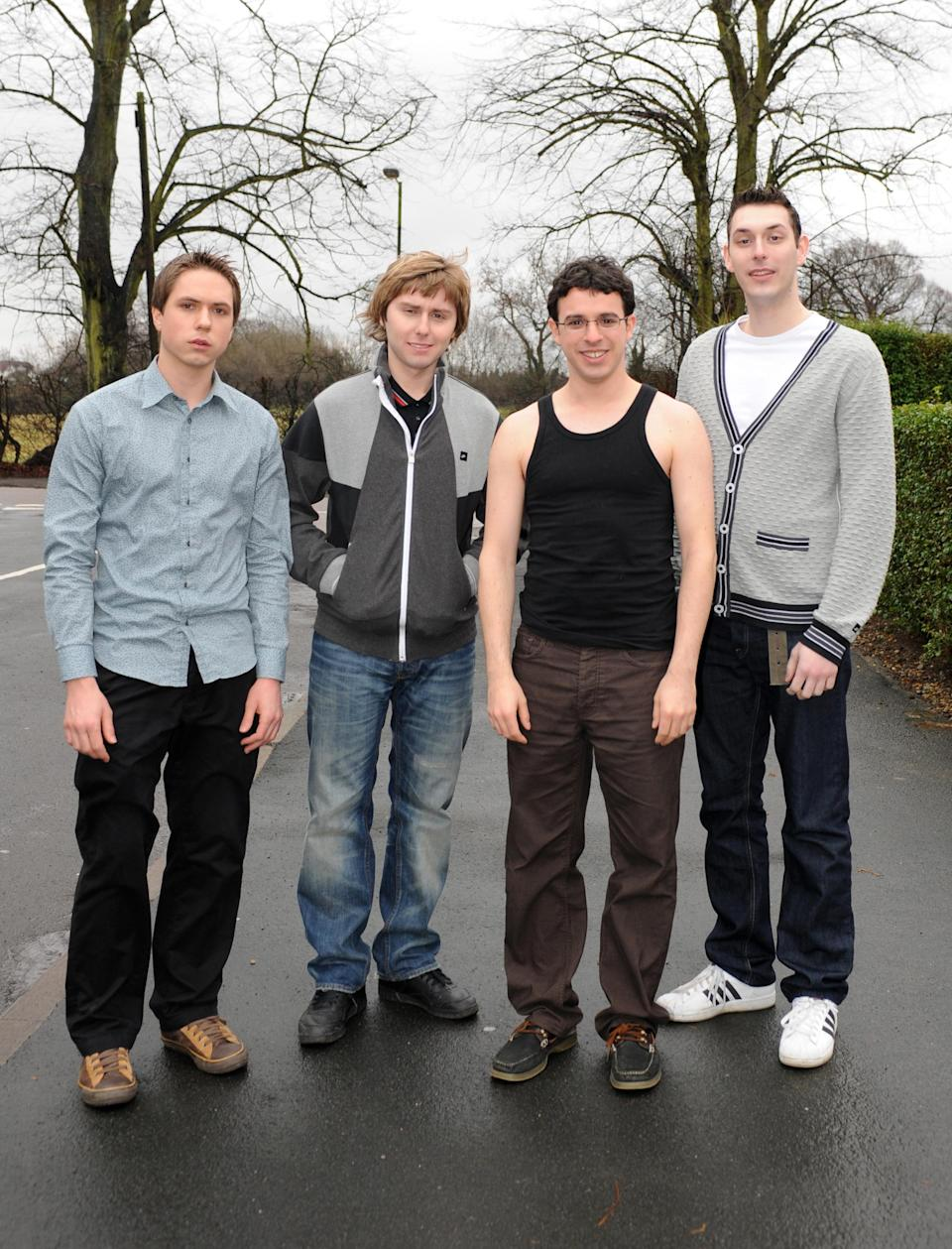 (From L-R) Joe Thomas, who plays Simon Cooper, James Buckley, who plays Jay Cartwright, Simon Bird, who plays Will McKenzie, and Blake Harrison, who plays Neil Sutherland, during the filming of the forthcoming E4 comedy series 'The Inbetweeners' in Bushey, Hertfordshire.   (Photo by Ian West - PA Images/PA Images via Getty Images)