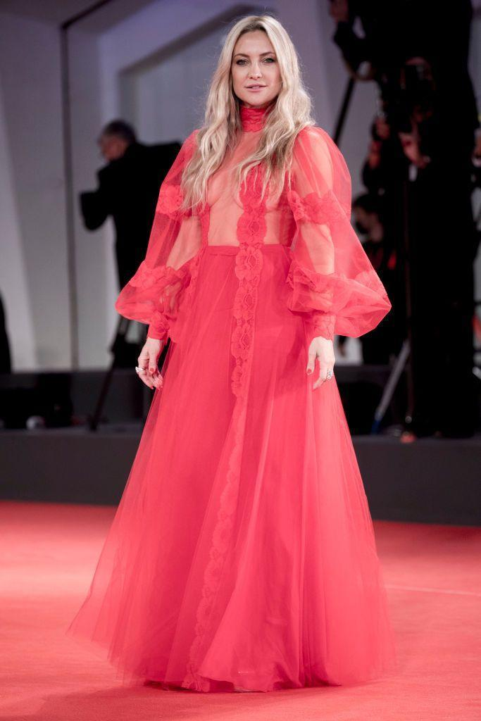 <p>The blonde wore a semi0sheer gown by Valentino to the red carpet of the movie 'Mona Lisa And The Blood Moon'.</p>