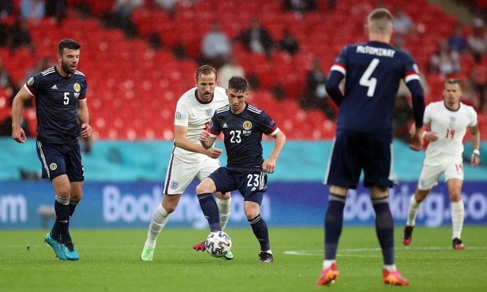 Billy Gilmour, pictured holding England's Harry Kane at bay, impressed in his side's Group D draw last Friday.