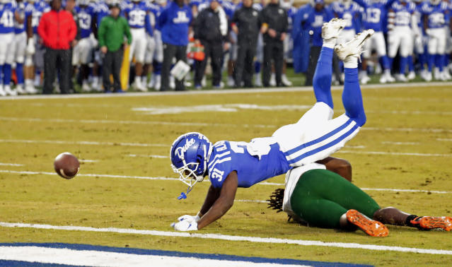 Duke's Josh Blackwell (31) breaks up a pass intended for Miami's Mike Harley (3) during the first quarter of an NCAA college football game in Durham, N.C., Saturday, Nov. 30, 2019. (AP Photo/Chris Seward)