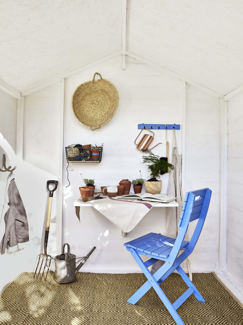 winter garden jobs: shed interior painted with Cuprinol