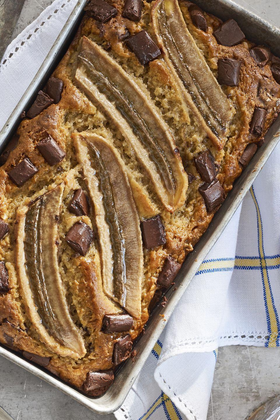 """<p>Prep a delicious batch of banana bread in one bowl in just 20 minutes.</p><p><strong><a href=""""https://www.countryliving.com/food-drinks/recipes/a41637/one-bowl-chocolate-banana-bread-recipe/"""" rel=""""nofollow noopener"""" target=""""_blank"""" data-ylk=""""slk:Get the recipe"""" class=""""link rapid-noclick-resp"""">Get the recipe</a>.</strong></p>"""