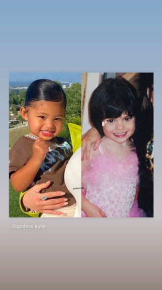 """<p>The 22-year-old beauty mogul shared a comparison photo of herself and her two-year-old daughter Stormi Webster around about the same age.<br></p><p>In the side-by-side snap, Kylie and Stormi smile at the camera. While Stormi's hair is slicked back into a ponytail, Kylie's is cut into a short bob with a fringe.</p><p> The photo came hours after the reality star shared a photograph of herself and the tot at Scott Disick's birthday party in California.</p><p>'My forever,' she captioned the sweet <a href=""""https://www.instagram.com/p/CAtCpDDnadw/"""" target=""""_blank"""">photo</a>.</p>"""