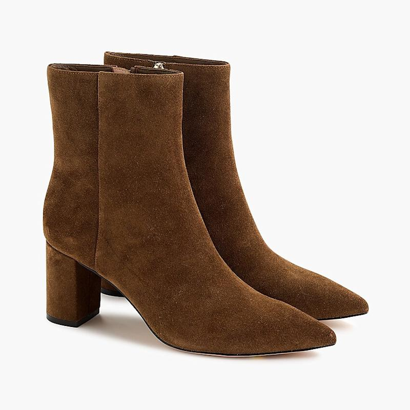 Pointed-toe Sadie boots in suede. (Photo: J. Crew)