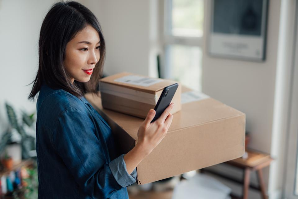 Express online shopping. One day delivery service. Group of parcels. Online shopping makes life easier. Unboxing online purchase.