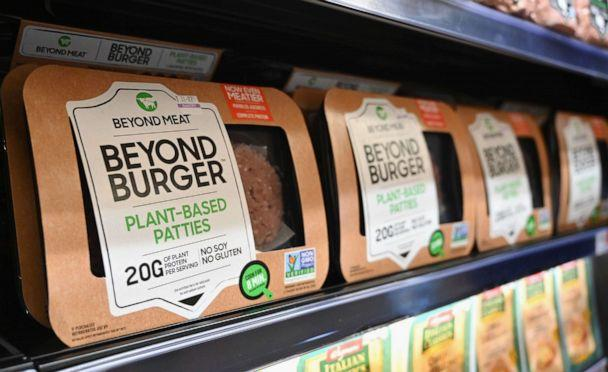 PHOTO: Beyond Meat 'Beyond Burger' patties made from plant-based substitutes for meat products sit on a shelf for sale, Nov. 15, 2019 in New York City. (Angela Weiss/AFP via Getty Images, FILE)
