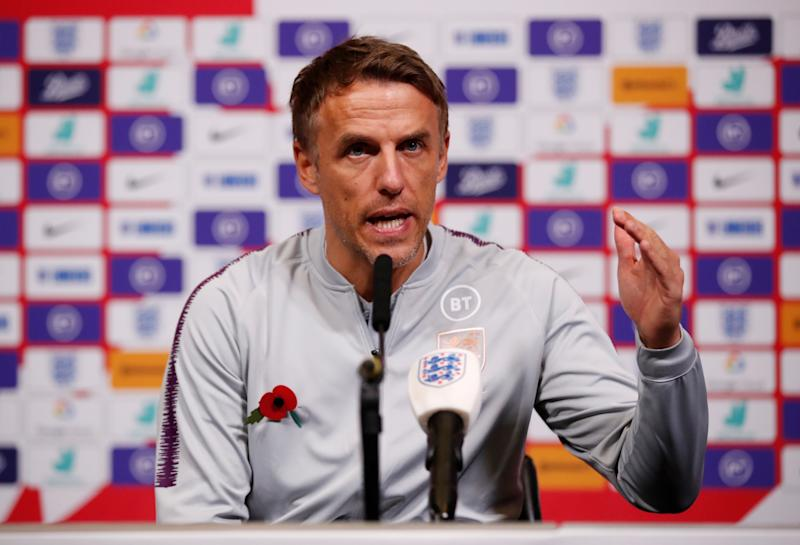 Soccer Football - England Women's Press Conference - Wembley Stadium, London, Britain - November 8, 2019 England manager Phil Neville during a press conference Action Images via Reuters/Andrew Boyers
