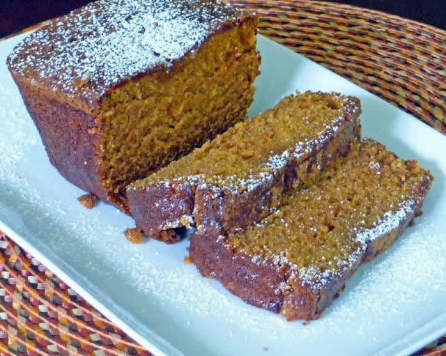 """A nice option if you want to bring something pumpkin-flavoured and sweet to a brunch, this bread is a loaf of delight. <a href=""""http://ourlifetastesgood.blogspot.ca/2013/10/pumpkin-pie-bread-recipe.html"""" rel=""""nofollow noopener"""" target=""""_blank"""" data-ylk=""""slk:Find the recipe at Life Tastes Good"""" class=""""link rapid-noclick-resp"""">Find the recipe at Life Tastes Good</a>."""