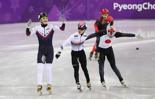 REFILE - ADDING BYLINE Short Track Speed Skating Events - Pyeongchang 2018 Winter Olympics - Men's 1000m Semifinals - Gangneung Ice Arena - Gangneung, South Korea - February 17, 2018 - John-Henry Krueger of the U.S. reacts near Seo Yi-ra of South Korea, Ryosuke Sakazume of Japan and Samuel Girard of Canada. REUTERS/Lucy Nicholson