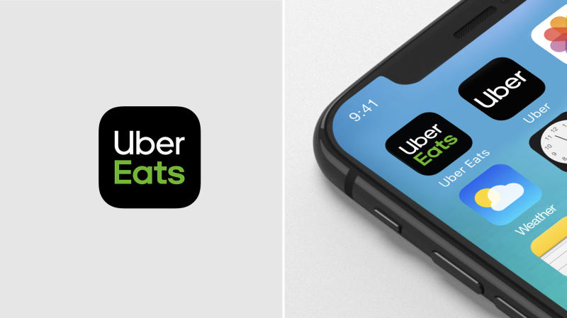 The Uber Eats app icon alone, and among other app icons on a smartphone