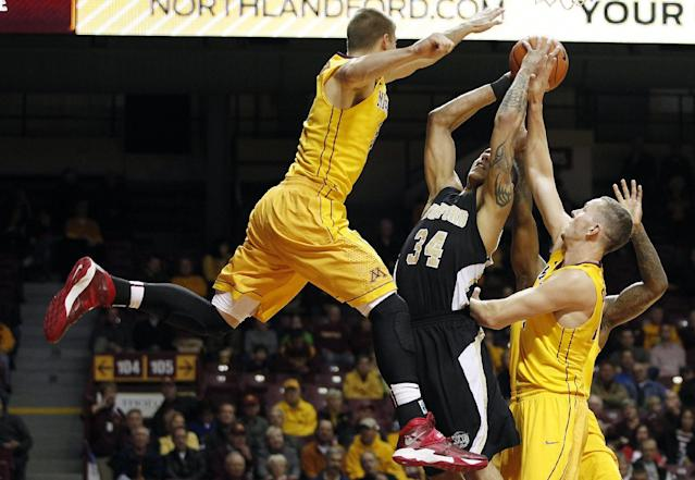 Minnesota guard Wally Ellenson, left, tries to block the shot of Wofford forward Lee Skinner (34) in the first half of an NCAA college basketball game Thursday, Nov. 21, 2013, in Minneapolis. (AP Photo/Stacy Bengs)
