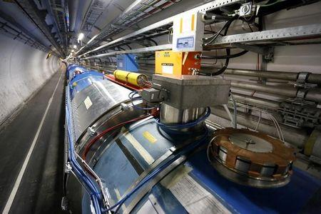A general view of the LHC experiment is seen during a media visit to CERN in the French village of Saint-Genis-Pouilly