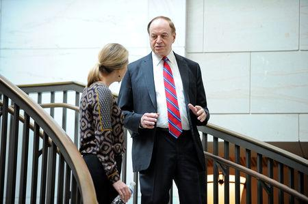 "FILE PHOTO: Sen. Richard Shelby (R-AL) arrives for a meeting with U.S. House-Senate conferees to receive a closed briefing from U.S. Border Patrol career professionals, who discuss ""the challenges they face protecting the U.S.-Mexico border"" at the U.S. Capitol in Washington, U.S., February 6, 2019. REUTERS/Mary F. Calvert"