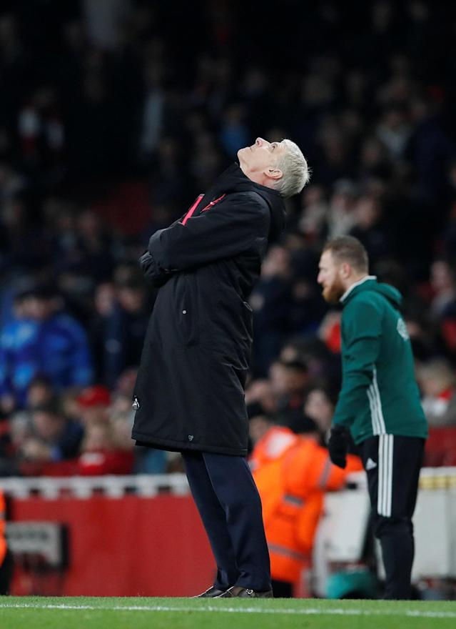 Soccer Football - Europa League Round of 16 Second Leg - Arsenal vs AC Milan - Emirates Stadium, London, Britain - March 15, 2018 Arsenal manager Arsene Wenger reacts REUTERS/David Klein