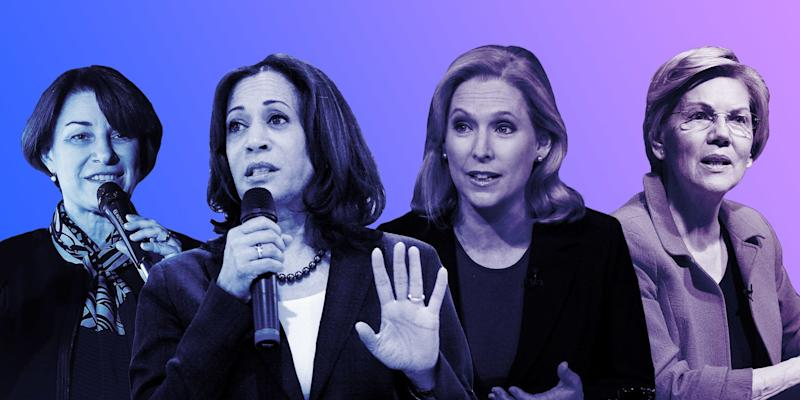 """The leading women in contention for the 2020 Democratic nomination spoke out against the recent tide of abortion restrictions. (Photo: <a href=""""https://www.huffpost.com/entry/gender-pay-gap-2020-election-fundraising_n_5ca39905e4b0f2df866a0dbc"""" target=""""_blank"""">Photo Illustration: Isabella Carapella/Huffpost; Images: Getty</a>)"""