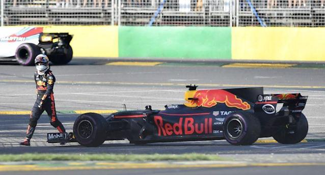There goes another season, mate: Daniel Ricciardo walks away from his broken Red Bull after a shocker of an F1 weekend