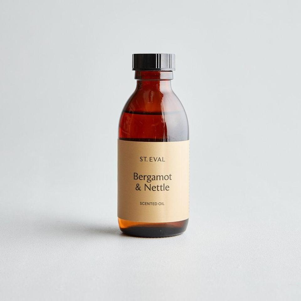 """<strong>Anna Jay, Art Director<br><br>Under £10</strong><br><br>I'm over by £2, forgive me! I love a reed diffuser and it's so much more economical to get refills (or even try <a href=""""https://thehomemadeexperiment.com/homemade-reed-diffuser-oil/"""" rel=""""nofollow noopener"""" target=""""_blank"""" data-ylk=""""slk:making your own"""" class=""""link rapid-noclick-resp"""">making your own</a>) rather than buying it all again. I recently got a nice one from <a href=""""https://www.purelakes.co.uk/"""" rel=""""nofollow noopener"""" target=""""_blank"""" data-ylk=""""slk:Pure Lakes"""" class=""""link rapid-noclick-resp"""">Pure Lakes</a> but like the look of this refill from my favourite place to buy candles, St. Eval.<br><br><strong>St.Eval</strong> Bergamot & Nettle Diffuser Refill, $, available at <a href=""""https://www.st-eval.com/collections/reed-diffuser-refills/products/bergamot-nettle-diffuser-refill"""" rel=""""nofollow noopener"""" target=""""_blank"""" data-ylk=""""slk:St.Eval"""" class=""""link rapid-noclick-resp"""">St.Eval</a>"""