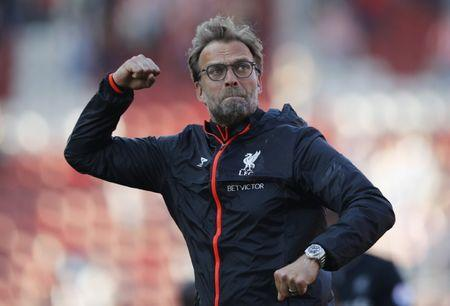 Liverpool manager Juergen Klopp celebrates after the match