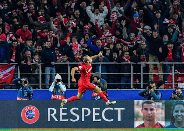 Spartak Moscow's Denis Glushakov celebrates after scoring a goal during their UEFA Champions League match against Sevilla FC at the Otkrytie Arena stadium in Moscow on October 17, 2017 (AFP Photo/Mladen ANTONOV)