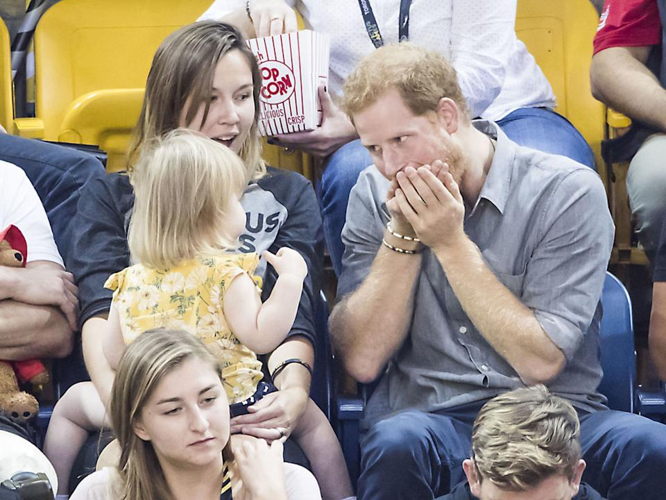 The prince pokes fun at the two-year-old Emily