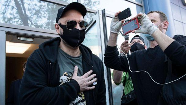 PHOTO: Russian film and theater director Kirill Serebrennikov, wearing a face mask to protect against coronavirus, leaves the Meshchansky court after hearings in Moscow, June 26, 2020. (Pavel Golovkin/AP)