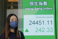 A woman wearing a face mask walks past a bank's electronic board showing the Hong Kong share index in Hong Kong, Tuesday, Sept. 28, 2021. Asian shares mostly fell Tuesday as concerns about China chipped away at investor optimism following a mixed finish on Wall Street. (AP Photo/Kin Cheung)
