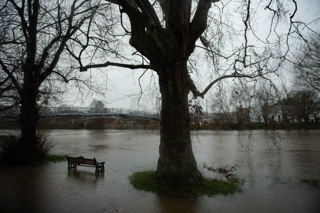 Flood water after the River Severn burst its banks in Worcester (Jacob King/PA)