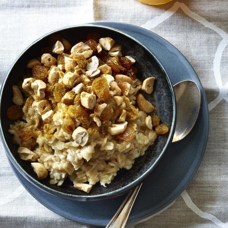 <p>Pep up your morning routine with this savory oatmeal recipe featuring cashews, curry powder and raisins. If you're short on time in the morning, try our overnight oatmeal version of this satisfying vegan recipe.</p>