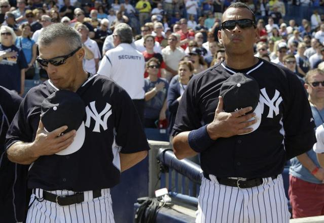 "Could we see Joe Girardi (left) or <a class=""link rapid-noclick-resp"" href=""/ncaaf/players/252085/"" data-ylk=""slk:Alex Rodriguez"">Alex Rodriguez</a> (right) in the booth for ESPN? (AP)"