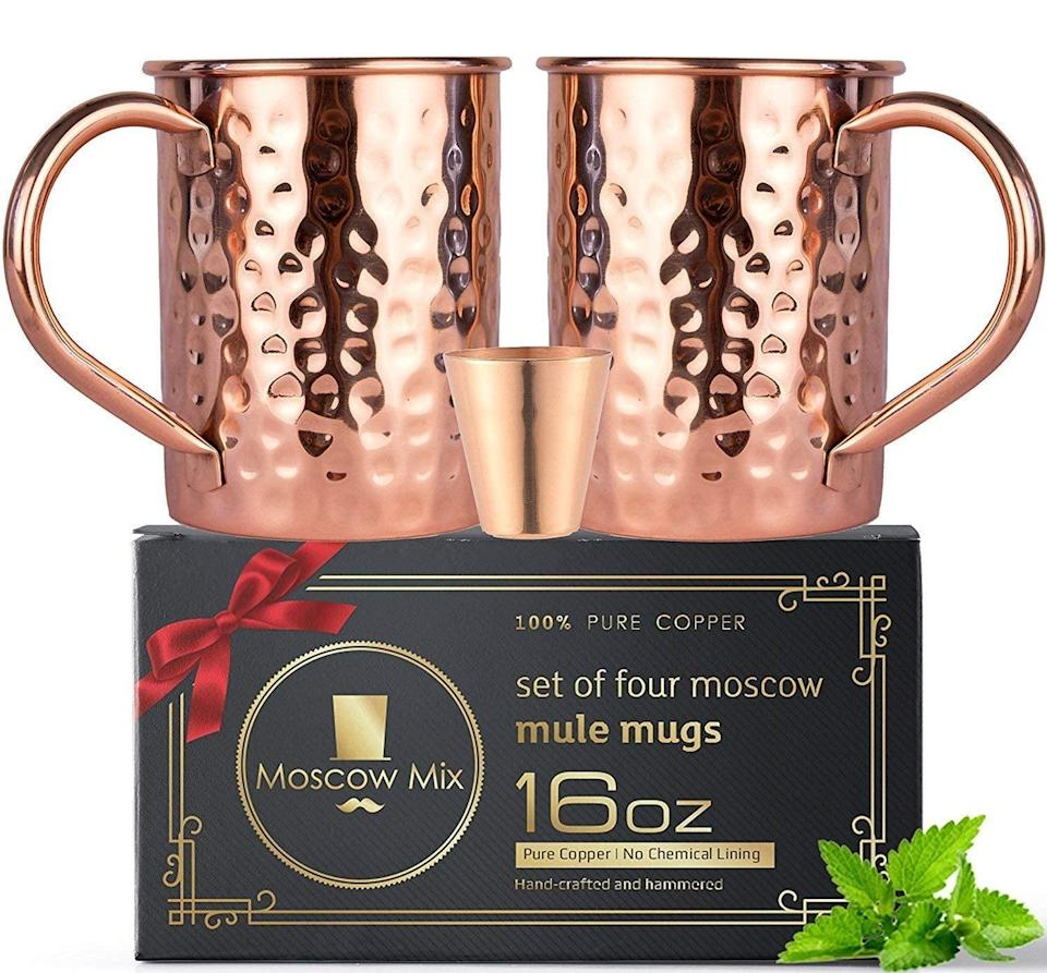 <p>This <span>Moscow Mule Kit</span> ($26) comes with cups, cocktail mix, and a shot glass.</p>