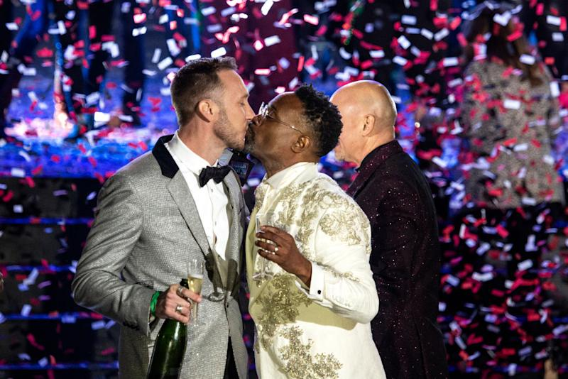 Billy Porter and Adam Porter-Smith celebrate onstage during Dick Clark's New Year's Rockin' Eve Celebration on December 31, 2019 in New Orleans City. | Santiago Felipe—Getty Images