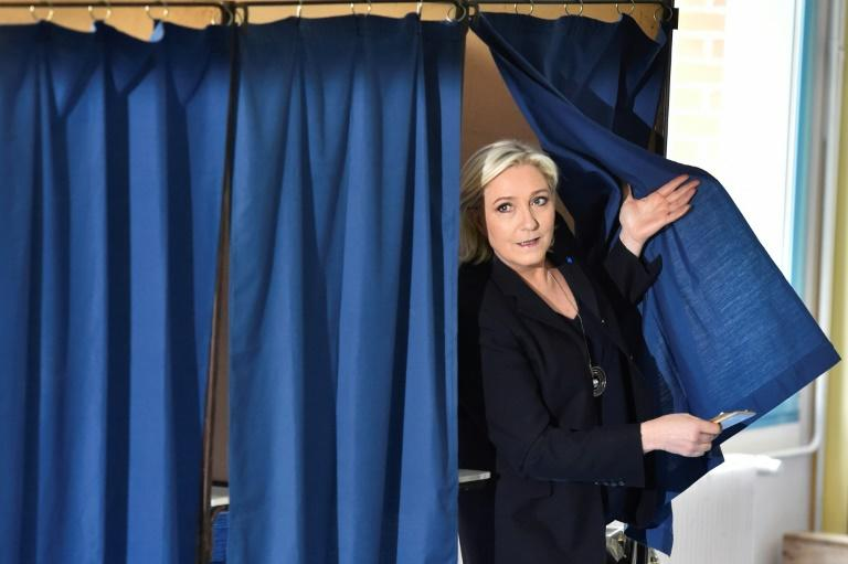 French far-right presidential candidate Marine Le Pen voted in a former coal mining town in northern France