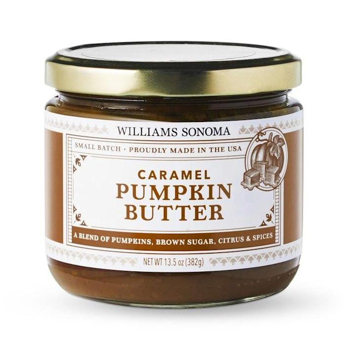 """<p>williams-sonoma.com</p><p><strong>$9.99</strong></p><p><a href=""""https://go.redirectingat.com?id=74968X1596630&url=https%3A%2F%2Fwww.williams-sonoma.com%2Fproducts%2Fwilliams-sonoma-caramel-pumpkin-butter%2F&sref=https%3A%2F%2Fwww.delish.com%2Ffood-news%2Fg22727687%2Ffall-foods-drinks-flavors%2F"""" rel=""""nofollow noopener"""" target=""""_blank"""" data-ylk=""""slk:Shop Now"""" class=""""link rapid-noclick-resp"""">Shop Now</a></p><p>Exclusive to Williams Sonoma and delicious on just about everything.</p>"""