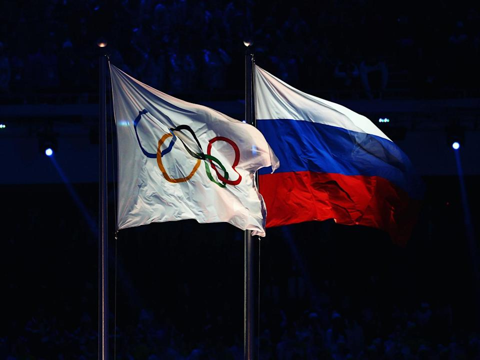 The Olympic flag flies next to the Russian flag: Getty Images