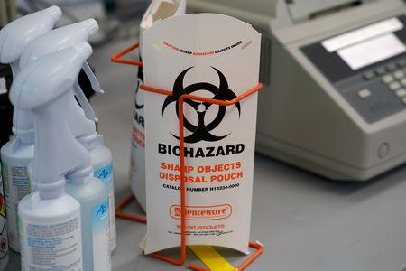 A Biohazard bag is pictured at the office of the Chief Medical Examiner of New York during an event in New York City, New York, U.S., September 6, 2018. REUTERS/Carlo Allegri
