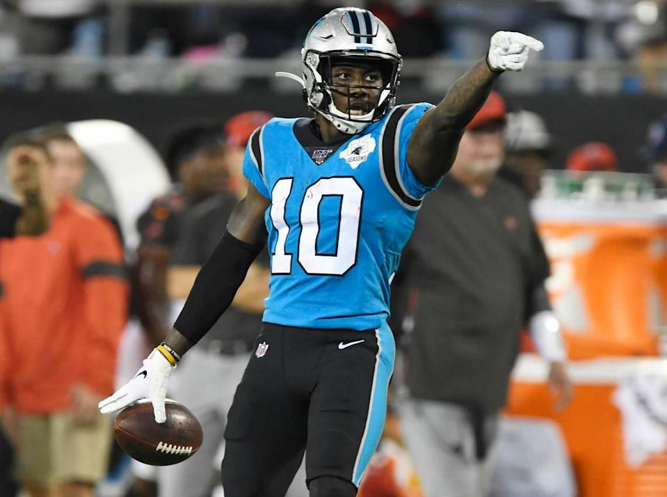 Carolina Panthers wide receiver Curtis Samuel (10) celebrates his long catch past Tampa Bay Buccaneers cornerback Vernon Hargreaves III (28) during the first half at Bank of America Stadium in Charlotte, NC on Thursday, September 12, 2019.