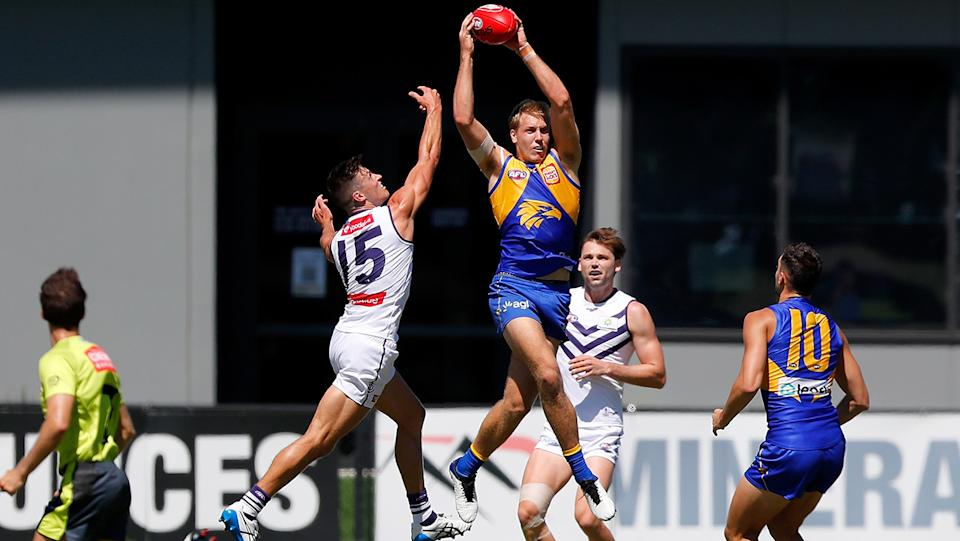 Oscar Allen, pictured here during the AFL practice match between West Coast Eagles and Fremantle.