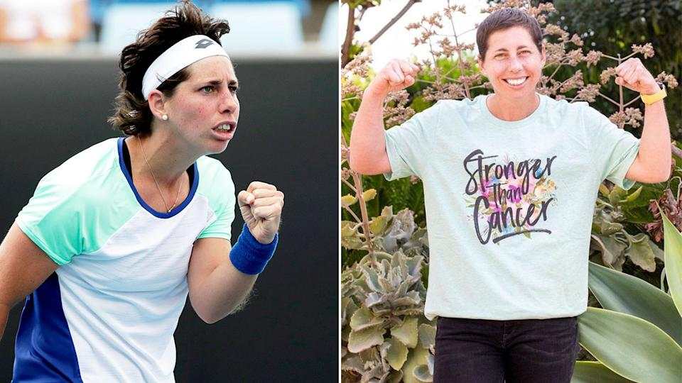 Seen here, Carla Suarez Navarro has beaten cancer and will return at the French Open.
