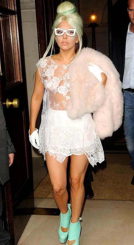 """You didn't expect Lady Gaga to wear a trend in the usual way, did you? The """"Born This Way"""" singer donned a design by London's own Simone Rocha -- and plenty of accessories! -- during a stay across the pond. (10/5/2011)"""
