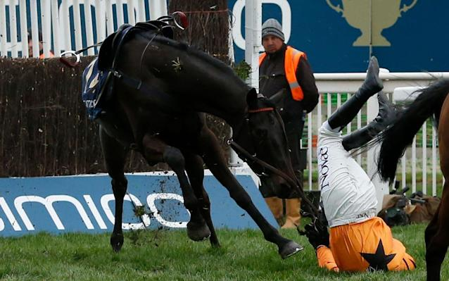 <span>Tea For Two and Lizzie Kelly fall at the second in the Gold Cup but horse and rider were unscathed</span> <span>Credit: Action Images/Andrew Boyers </span>