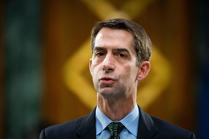 <p>Trump ally Tom Cotton accused of lying about military service</p> (Al Drago-Pool/Getty Images)